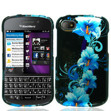 For BlackBerry Q10 HARD Protector Case Snap On Phone Cover Blue Flowers