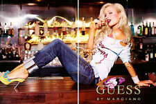 2004 Guess Jeans Marciano Paris Hilton sitting on bar MAGAZINE AD