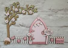 Magical Hand Painted Light Pink Blossom Fairy Door And Tree With Fencing