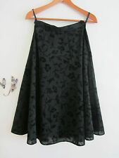 Vintage 80s M&S See Through Black Floral Silver Glitter Skirt - Size 8