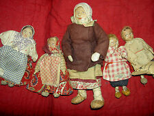 1930s l'bd., Russian cloth doll group of 5, Soviet Union Russia stockinette USSR