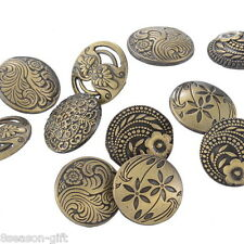 HX 30PCs Round Sewing Buttons Bronze Tone Flower Decorative Pattern Mixed 17mm