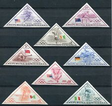 DOMINICAN REPUBLIC 1957 OLYMPIC GAMES TRIANGLES MINT SET OF 8 IMPERF STAMPS!