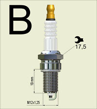 4 pieces 150 121 090 Nology Silver Spark Plug M12x1.25-19mm reach, 17.5mm Hex