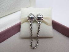 New w/Box Pandora Signature Logo Safety Chain Charm # 791877-05 Protect Bracelet