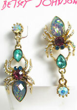Betsey Johnson Gold-Tone Multi-Crystal Spider Mismatch Earrings