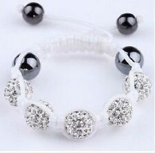 CHILDRENS CLEAR WHITE SHAMBALLA BRACELET- 5 CLAY DISCO BEADS-CZECH CRYSTAL-UK