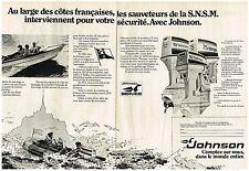 PUBLICITE ADVERTISING  054  1977  JOHNSON  bateaux pneum les sauveteurs SNSM (2p