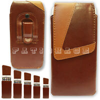 Phone Case Cover Pouch Belt Clip Loop Holster Holder Brown Universal Mobiles