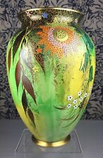 "Art Deco Carlton Ware 'Babylon' 4125 Yellow Sponged Green Lustre 8"" Vase c1937"