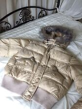 River Island Jacket Size 12 Faux Fur Detachable Hood Puffer Quilted Warm
