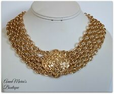 GOLD LAYERED URBAN GLAM MULTISTRAND METAL LINK DESIGN CHAIN STATEMENT NECKLACE