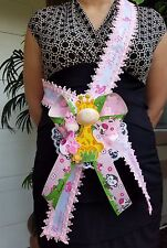 Baby Shower Mom To Be It's a Girl Giraffe Sash Pink Safari Ribbon Corsage Noah's