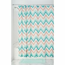 InterDesign Ikat Chevron Fabric Shower Curtain, Coral/Teal