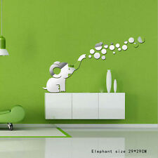 The Elephant Mirror Wall Stickers Art Mural Wall Sticker Home Decor Removable