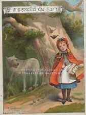 Big Bad Wolf-Danger-Little Red Riding Hood-1888 ANTIQUE VINTAGE COLOR ART PRINT