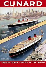 Cunard QE II Queen Mary Europe to America Travel Poster