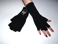 New Wave Fingerless Gothic Industrial 80s Goth Punk Black Arm Warmer Knit Gloves