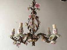 ~c 1920 French Tole Porcelain Roses & Flowers Chandelier Gorgeous Original~