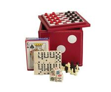 Deluxe Red Leatherette Dice Cube Game Set Dominoes Poker Chess Checkers Cards
