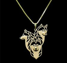 Siberian Husky Dog Pendant Necklace -  Fashion Jewellery - Gold Plated