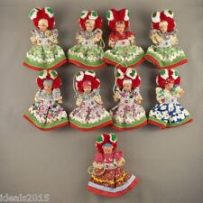Vintage Set of 9 Folk Art Small Rubber Dolls Dressed in Hungarian Costumes ~D110