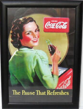"Coca-Cola - QUADRO d/MURO ""THE PAUSE THAT REFRESHES"" corn/NERA-cm. 50x36-gr.1290"