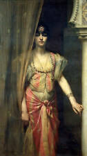 No framed oil painting naked portraits young woman standing with Curtain canvas