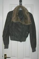 NEW LOOK Grey Fur JACKET Faux Leather PVC Biker uk8 eu34 us4 Chest c34ins c86cms