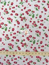 """CHERRY/FRUIT POLY COTTON PRINT FABRIC-White- SOLD BTY POLYCOTTON 58""""/59"""" - P17"""