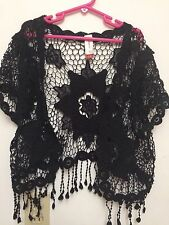 Junior Girls Black Crocheted Floral Shell With Fringe by No Boundaries Size 3-5