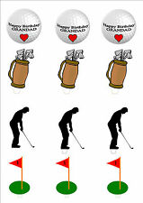 NOVELTY HAPPY BIRTHDAY GRANDAD GOLF GOLFER MIX STAND UP Edible Cake Toppers