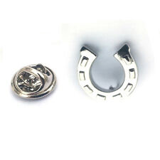 Silver Lucky Horse Shoe Lapel Pin Badge Equestrian Horses Riding Badges Gift New