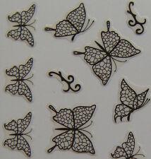 Nail Art 3D Sticker Epoxy Unique Black Vein Butterfly 38pcs per sheet RARE
