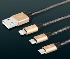 3 in 1 Braided wire TYPE-C Micro Usb Charging Cable For Oneplus Macbook Iphone
