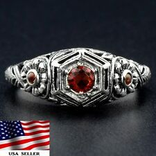 1CT Fire Garnet & Opal 925 Solid Sterling Silver Victorian Style Ring Sz 8
