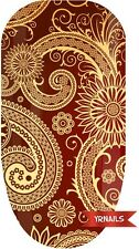Nail WRAPS Nail Art Water Transfers Decals - Red Paisley - W084