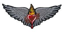 Ricamate cuore con ali 29x12cm Scared Heart Patch Wings schiena Gilet Giacca