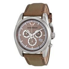 Emporio Armani Men's WATCH Chronograph AR6040 Sportivo Taupe Dial & Leather $295