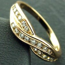 AN481 GENUINE REAL 18CT YELLOW G/F GOLD DIAMOND SIMULATED LADIES ETERNITY RING