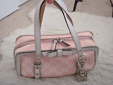 Authentic Loewe Ninette Pink & White Coated Canvas & Leather Bow Tote Bag Purse