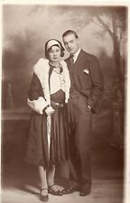BL512 Carte Photo vintage card RPPC Couple mode fashion studio décor
