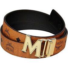 MCM Authentic Gold M buckle Cognac Visetos Black Reversible Belt-MYB5SPT35BK