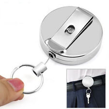 New Metal Reel Badge Retractable Pull Chain ID Card Holder Recoil Ring Keychain