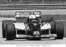 Andrea de Cesaris SIGNED ,Original Press Photo F1 Minardi M185B  Brazil 1986
