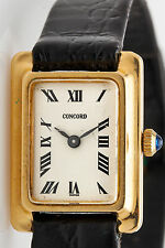 Vintage $2400 18k Yellow Solid Gold CONCORD Tank Ladies Dress Watch
