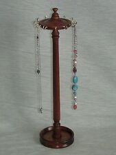 WOODEN MAHOGANY WOOD NECKLACE STAND CHAIN HOLDER HANGER DISPLAY TREE  HANDMADE