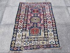 Antique Traditional Hand Made Caucasian Blue Wool Oriental Rug 130x102cm