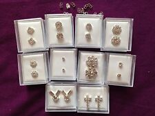 JOBLOT - 10 pairs of crystal diamonte stud earrings. Silver plated. Gift boxed.