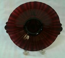 Vintage Ruby Red Glass Bowl, Dish, Serving Plate with Handles